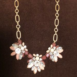 J CREW BURGUNDY AND MAUVE PINK STATEMENT NECKLACE